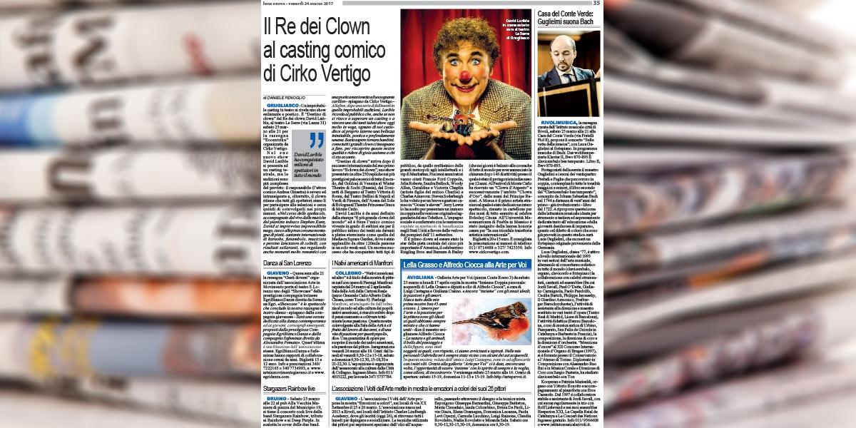 Il re dei Clown David Larible al casting comico di Circo Vertigo.