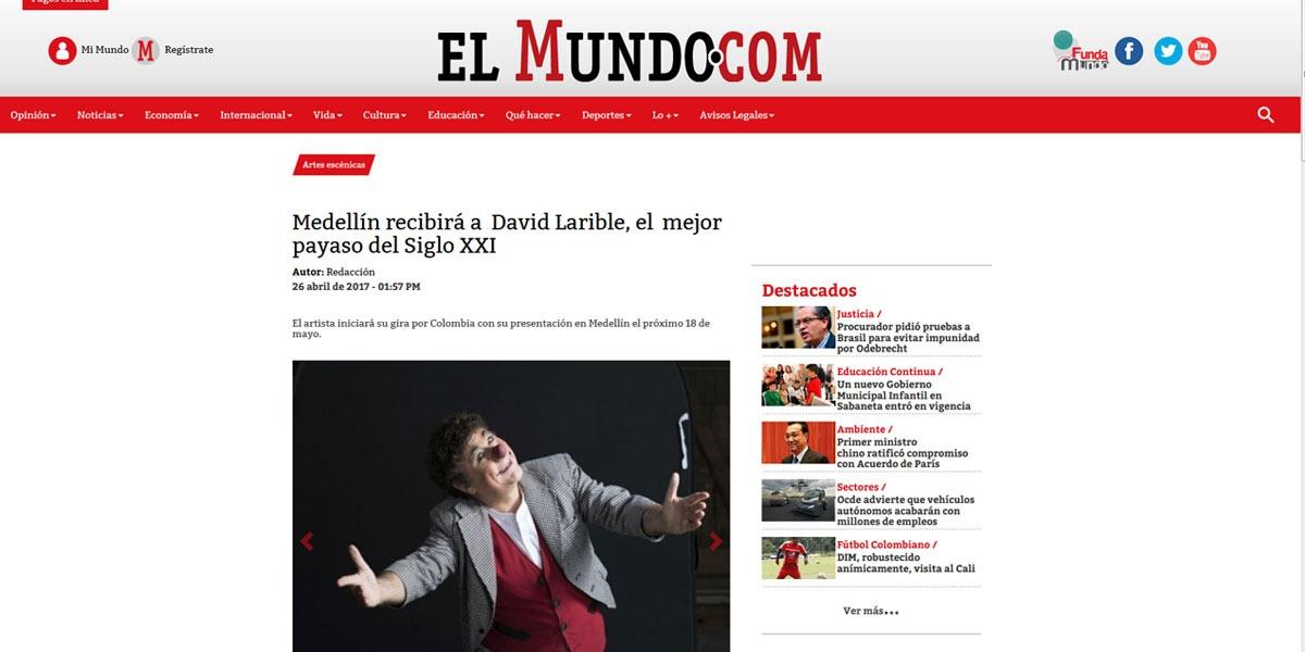 Medellín recibirá a David Larible, el mejor payaso del Siglo XXI