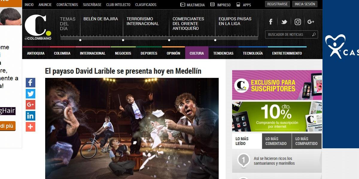 El payaso David Larible se presenta hoy en Medellín