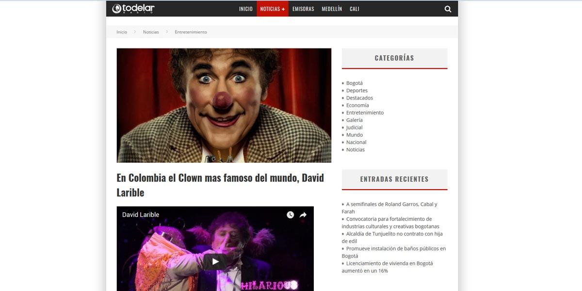En Colombia el Clown mas famoso del mundo, David Larible